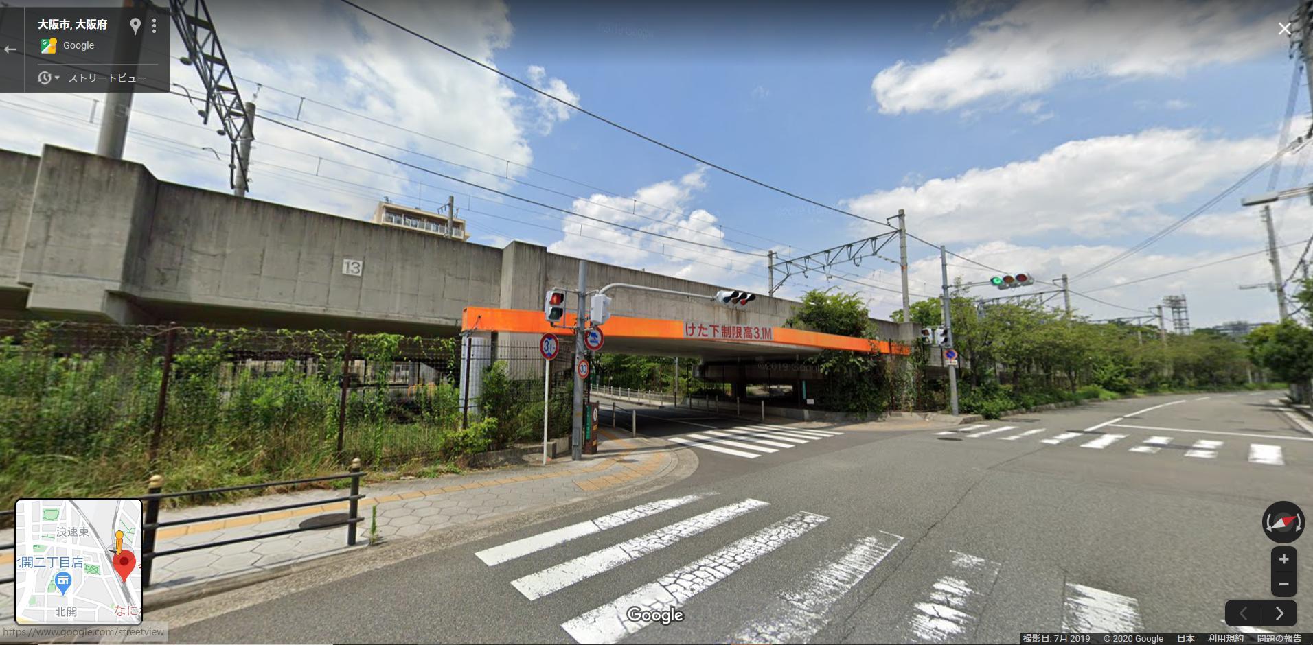 今宮駅とJR難波駅の間の立体交差部