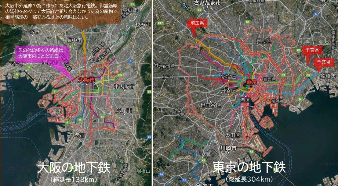 図1 東京・大阪の地下鉄